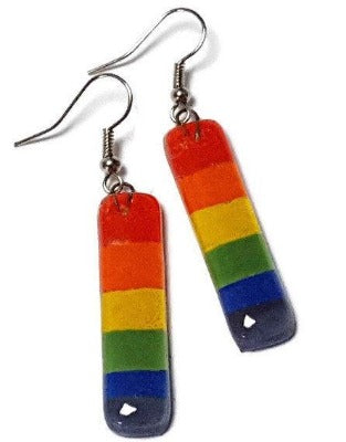 Rainbow Recycled Glass Earrings. Best Long drop earrings. Fused Glass Dangle Earrings.