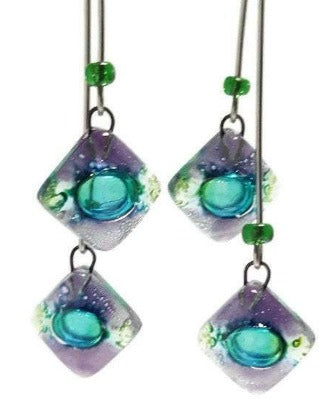 Long multiple bead green and purple earrings. Bubbles