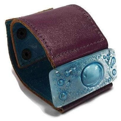 Wide Leather cuff . Glass and leather. Turquoise glass with Purple Leather Cuff. Recycled fused Glass wide bracelet