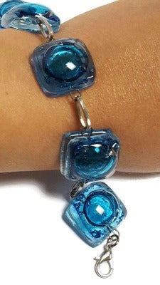 Recycled Fused Glass Blue Bracelet