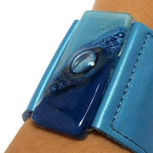 Wide Leather Cuff. Metallic light blue Leather Bracelet. Recycled glass Bracelet.