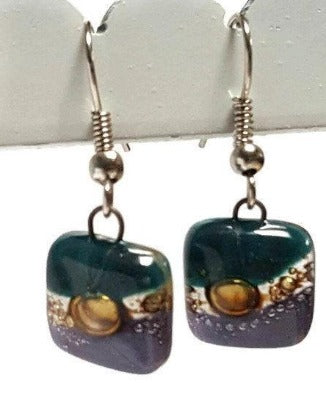 Small teal, brown and purple Square Fused Glass  Dangle Earrings. Recycled Glass Drop earrings