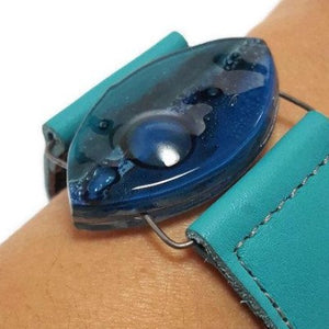 Leather cuff. Blue and teal Fused Glass and turquoise  leather Bracelet.
