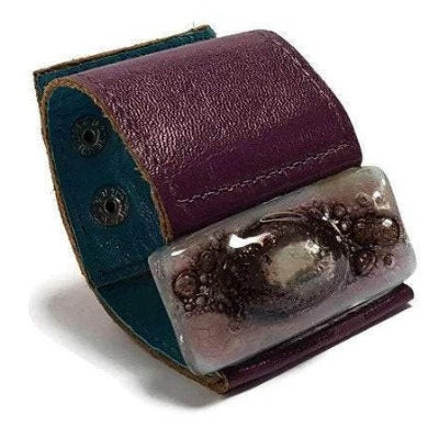 Wide Leather cuff . Glass and leather. Lavender lilac with Purple Leather Cuff. Recycled fused Glass wide bracelet