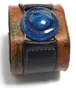 Floral and black Reclaimed Leather Wide Cuff Bracelet. Blue Fused Glass and Leather Wrist band