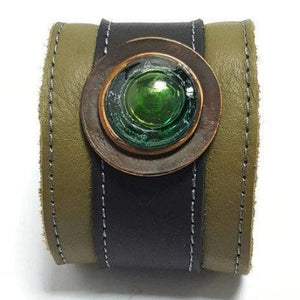 Green Reclaimed Leather Wide Cuff Bracelet. Fused Glass and Leather Wrist band