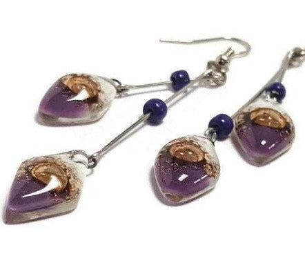 Long multiple bead white earrings Purple, brown and white