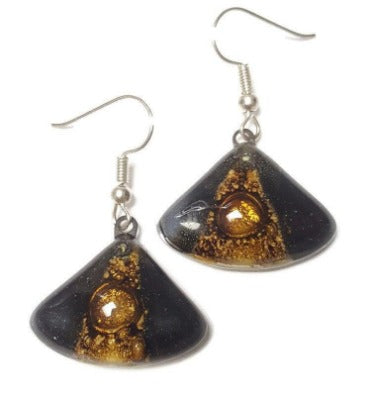 Black white and brown Fan shape recycled fused glass drop earrings. Neutral colors dangle earrings.