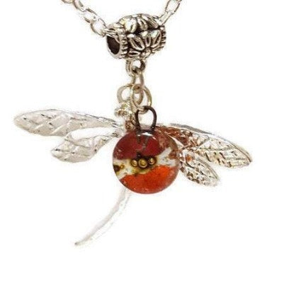 Dragonfly necklace. Recycled fused glass Red, orange and Brown bead.