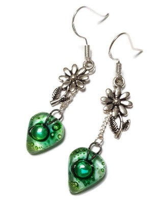 Flower Green Recycled Glass Dangle Earrings. Handcrafted fused heart beads. Long sunflower drops. Best gift! Casual jewelry