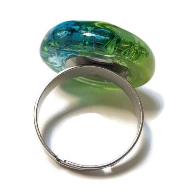 Stainless steel adjustable ring, Recycled Fused Glass. Blue green glass stone handmade ring. Handcrafted statement jewelry. Ecofriendly gift