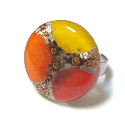 Stainless steel adjustable ring, Recycled Fused Glass elegant statement jewelry, Yellow, Orange and Red. Glass ring. Contemporary. Upcycled