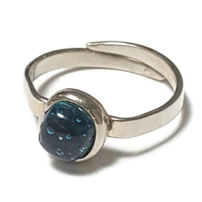 Dainty fun small handmade ring. Blue Recycled glass handcrafted glass bead stone. Alpaca silver adjustable ring. Awesome handmade gift