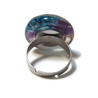 Stainless steel adjustable ring, Recycled Fused Glass elegant statement jewelry, Purple, turquoise, brown and white glass ring. Contemporary