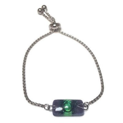 Purple and green Minimalist, Dainty, Pull Tie bracelet. Adjustable slider bracelet with recycled glass charm. Great gift for her.