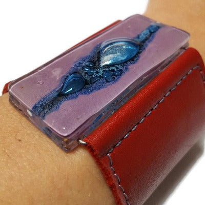 Wide Leather Cuff. Deep Red soft Leather Bracelet. Recycled glass Bracelet. Blue and purple bead. Silver metallic bubbles. Statement  cuff