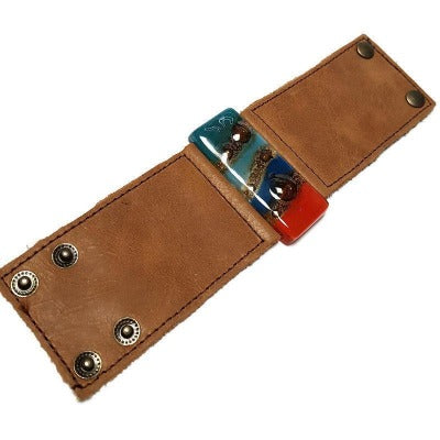 Wide Leather Cuff. Blue Leather Bracelet. Blue red and Teal Recycled glass and light brown soft leather Bracelet. Ecofashion holiday gifts