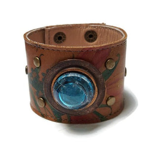 Floral Reclaimed Leather Wide Cuff Bracelet. Fused Glass and Leather Wrist band. Unique eco fashion jewelry, Turquoise glass bead w bubbles!