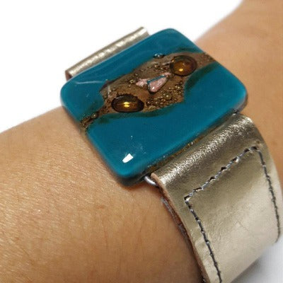 Metallic Leather Cuff with Teal brown color Recycled Fused Glass Bead. Awesome statement cuff. Eco-friendly holiday gift. Handcrafted cuff