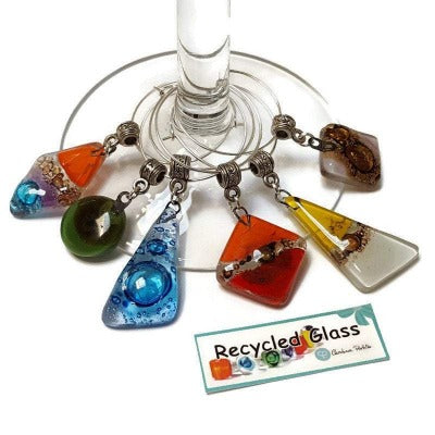Wine Charms. Set of 6 Six wine charm glass decor. Drink identifier.  Colorful, fun recycled glass bead charms party decor.