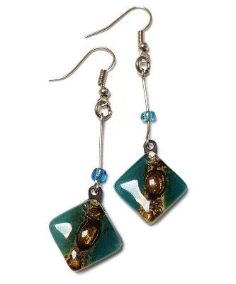 Long Teal Diamond Shaped Recycled fused glass earrings. Casual contemporary jewelry. Eco Fashion for women.