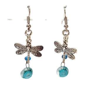 Dragonfly Recycled Glass Dangle Earrings. Handcrafted fused beads. Long Blue and White drops. Best gift!