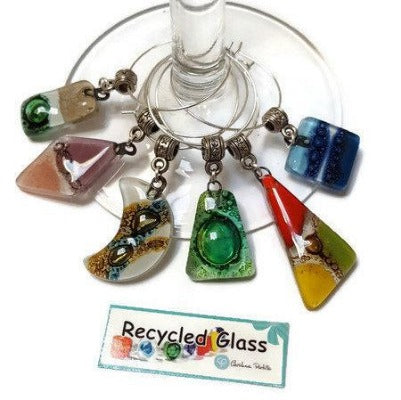 Wine Charms. Set of 6 Six wine charm glass decor. Drink identifier.  Color fun recycled glass bead charms party decor.