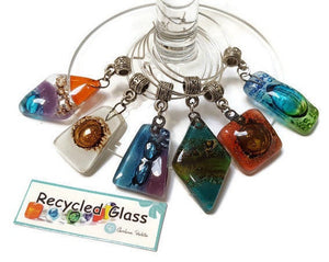 Wine Charms. Set of 6 Six wine charm glass decorations. Drink identifier.  Color fun recycled glass bead charms party decor.