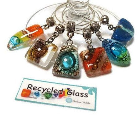 Colorful Fun Wine Charms. Set of 6 Six wine charm glass decoration. Drink identifier. Recycled glass bead charms party decor.