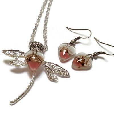 Set earrings and pendant. Pink, white and Brown Recycled Glass Heart Dragonfly. Handmade Necklace. Casual Gift for Women