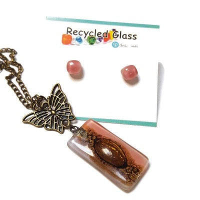 Set Butterfly pink recycled glass long necklace and small glass studs. Butterfly Handmade fused glass pendant and earrings