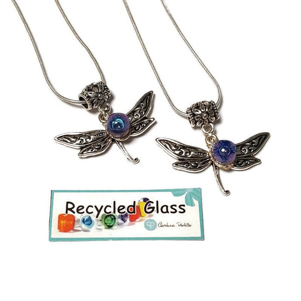 BFF Dragonfly necklace set. Recycled fused glass Lilac and Blue beads.  Set of 2 necklaces. Small dainty pendant. Best gift