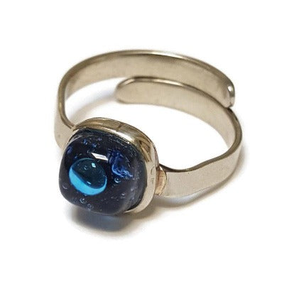 BLUE Dainty fun small handmade ring. Recycled glass handcrafted glass bead. Alpaca silver adjustable ring. Upcycled and colorful
