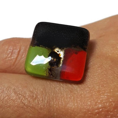 Stainless steel adjustable ring, Recycled Fused Glass elegant statement jewelry, Red, Green, Black and brown square colorful statement ring