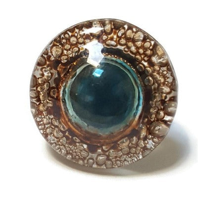 Recycled Fused Glass elegant statement jewelry, Blue and Brown Upcycled Stainless steel adjustable ring. Awesome Bubbles!