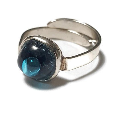 Dainty fun small handmade ring. Blue Turquoise Recycled glass handcrafted glass bead. Alpaca silver adjustable ring. Upcycled and colorful