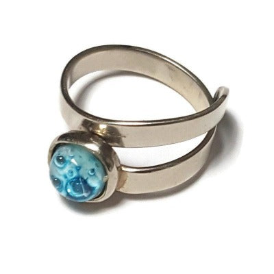 Dainty small handmade ring. White with small turquoise aqua bubbles.  Recycled glass handcrafted glass bead. Alpaca silver adjustable ring