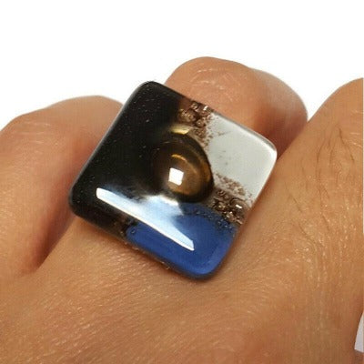 Adjustable ring, Recycled Fused Glass stainless statement jewelry, Geometric glass ring. Blue, Black and white. Upcycled Glass jewelry