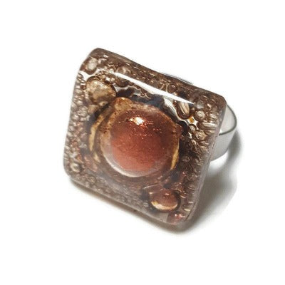 Stainless steel adjustable ring, Brown and Copper Recycled Fused Glass elegant statement jewelry, gift for her, glass ring.  Upcycled