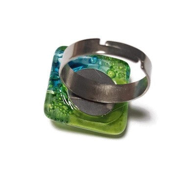 Stainless steel adjustable ring, Recycled Fused Glass elegant statement jewelry, Amazing glass bead ring. Contemporary. Upcycled