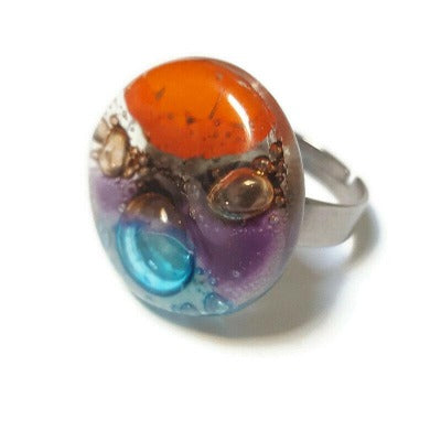 Colorful Glass Ring. Stainless steel adjustable Recycled Fused Glass elegant statement jewelry. Contemporary. Upcycled, Bubbles!