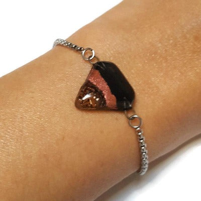 Black and Copper Minimalist, Dainty, Adjustable slider bracelet with recycled glass charm. Stainless Steel Box Chain Slider Bracelet.