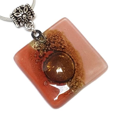 Necklace. Square Red and pink small recycled glass Pendant. Handmade Red, pink and brown. Dainty colorful necklace. Everyday Pendant
