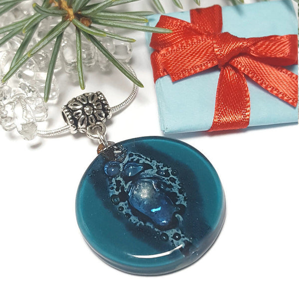 Glass pendantTeal and blue round Fused Glass Pendant. Recycled Glass Necklace. handmade Jewelry. Best holiday gift. Hand painted fused glass