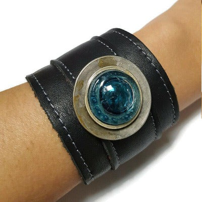 Black Reclaimed Leather Wide Cuff Bracelet. Fused Glass and Leather Wrist band. Unique eco fashion jewelry. Black wide statement bracelet.