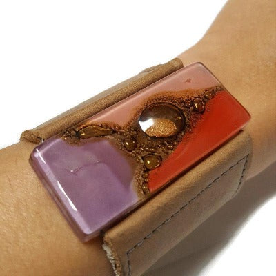 Wide Leather Cuff. Red, lilac pink and golden glass and Leather Bracelet. Soft light brown leather. Statement Jewelry. Upcycled windows
