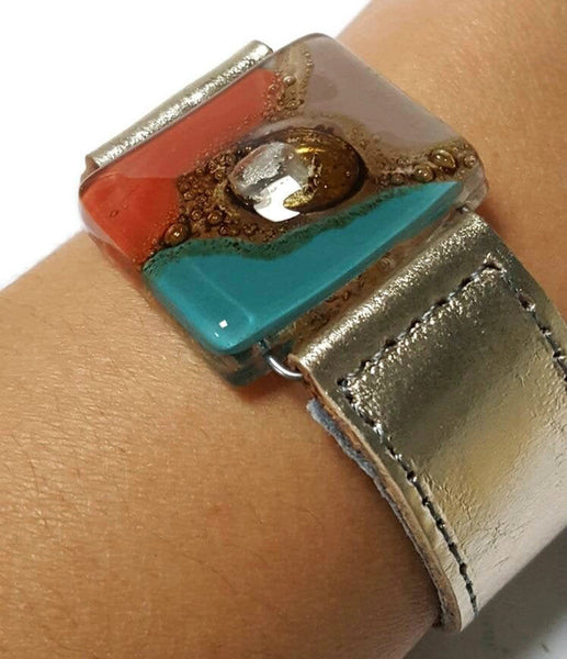 Metallic Leather Cuff with Teal, red, taupe and brown color Recycled Fused Glass Bead. Leather Bracelet
