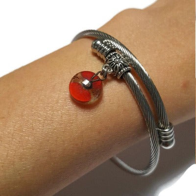 Adjustable stretch stainless steal bangle bracelet. Twisted wire bracelet. Red Recycled fused glass bead. Handmade gifts under 20.