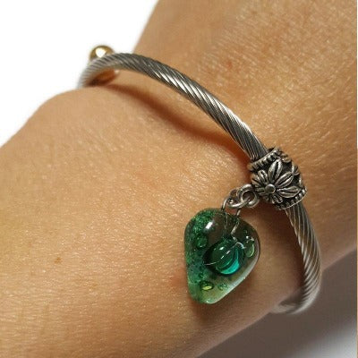 Adjustable stretch stainless steal bangle bracelet. Twisted wire bracelet. Green Recycled fused glass bead. Handmade gifts under 20.