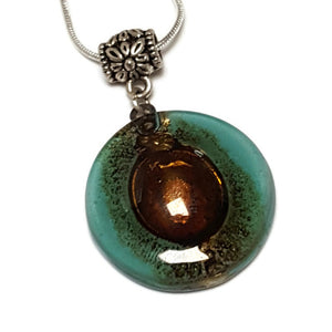 Blue Green, Teal Recycled fused glass pendant. Awesome golden bubbles. Handmade necklace. Eco friendly best holiday gifts.